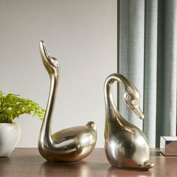 Madison Park Signature Swan Polished Gold Decorative Object Set of 2