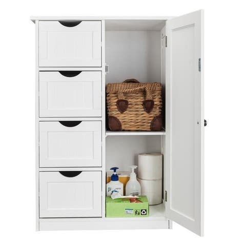 White 4-drawer Single Door Bathroom Storage Cabinet
