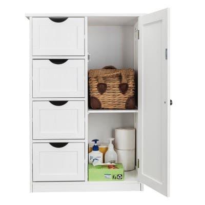 White 4-drawer Single Door Bathroom Storage Cabinet