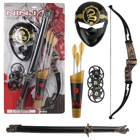 Warrior Ninja Role Play Toy Kit With Mask, Bow, and Sheath - Costume