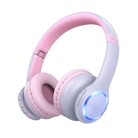 Mpow CH9 Bluetooth 5.0 Kids Headphones with LED Light On-Ear Wireless Headphones Foldable Headset for Children