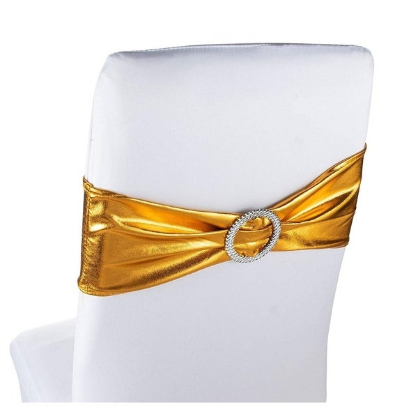 50 Pack Gold Chair Sashes Cover Wedding Bridal Shower Anniversary Decorations