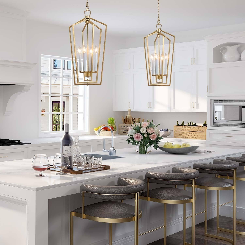 Modern 4 Lights Pendant Lighting Chandelier Light Fixture For Kitchen Dining Room W14 Xh28 3