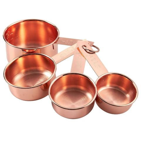 4 Pieces Stainless Steel Measuring Cup Set for Baking Cooking, Copper-Plated