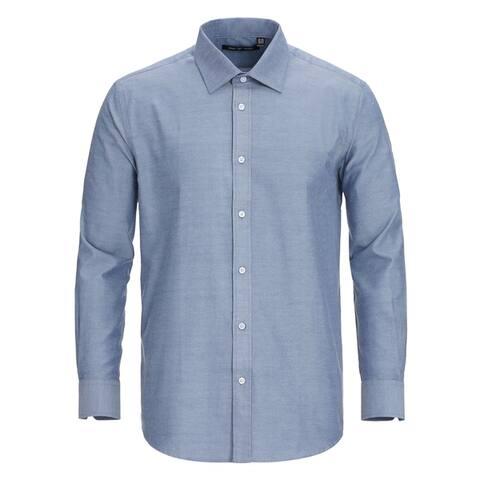 Zenbriele Men's Long Sleeve Regular Fit Solid Oxford Dress Shirt