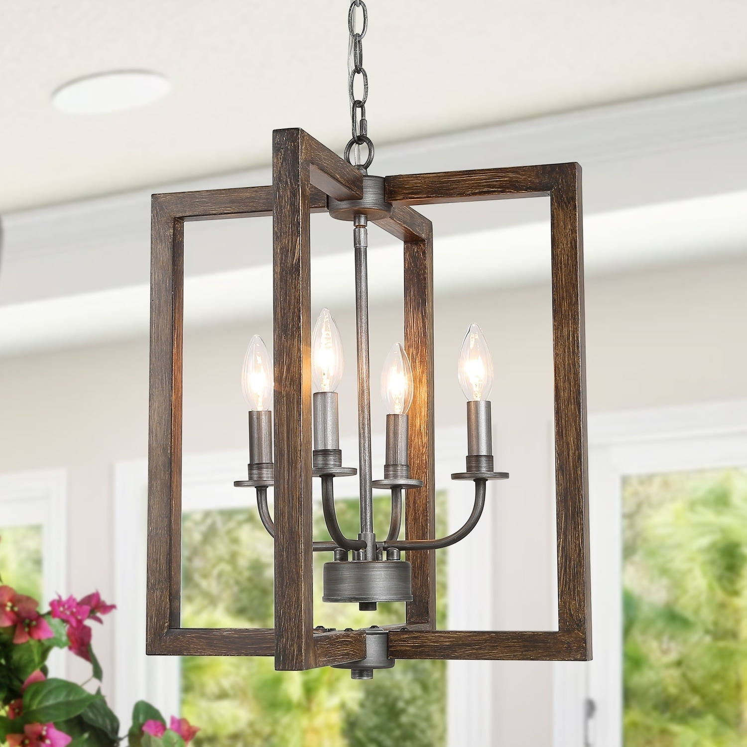 Faux Wood Pendant Lighting Fixture