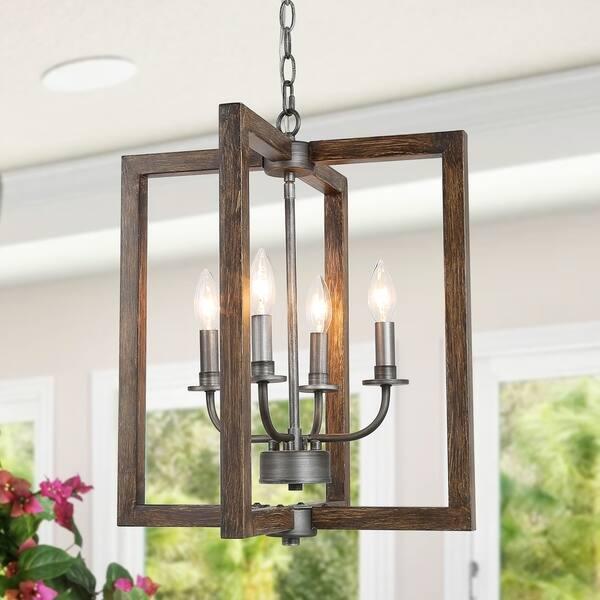 Shop Rustic 4-lights Pendant Hanging Lighting Fixture for ...