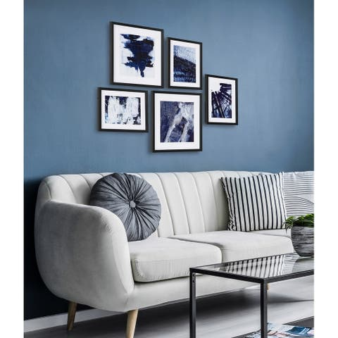 Kate and Laurel Indigo 5-Piece Framed Art Set - Black