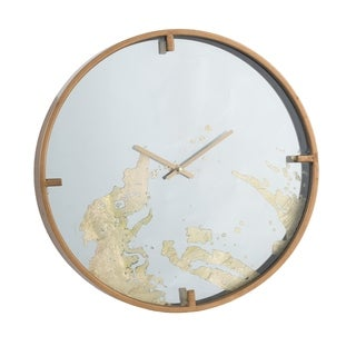 Polished Brass 15-inch Mirror Face Wall Clock