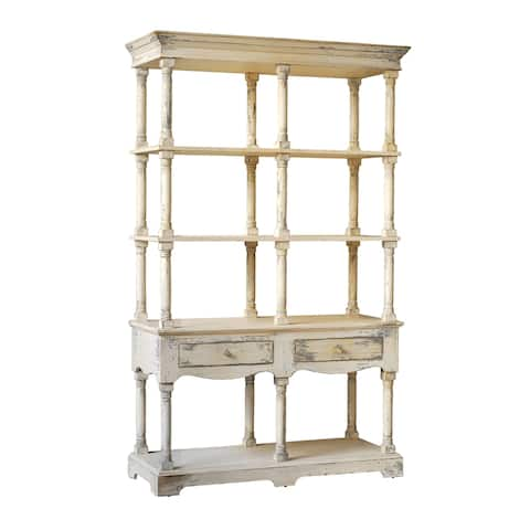 Adela Distressed White French Country Bookcase