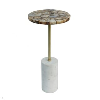 Gold Agate and Matte Brass with Cylindrical Marble Base Side Table