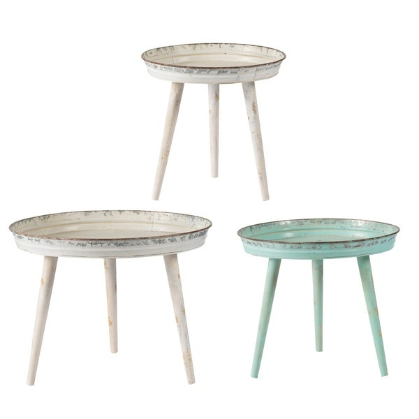 Weathered Green, Blue and White Rustic Patio Tables (Set of 3)