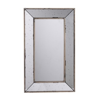 Large Distressed Silver 24-inch Rectangular Mirrored Tray
