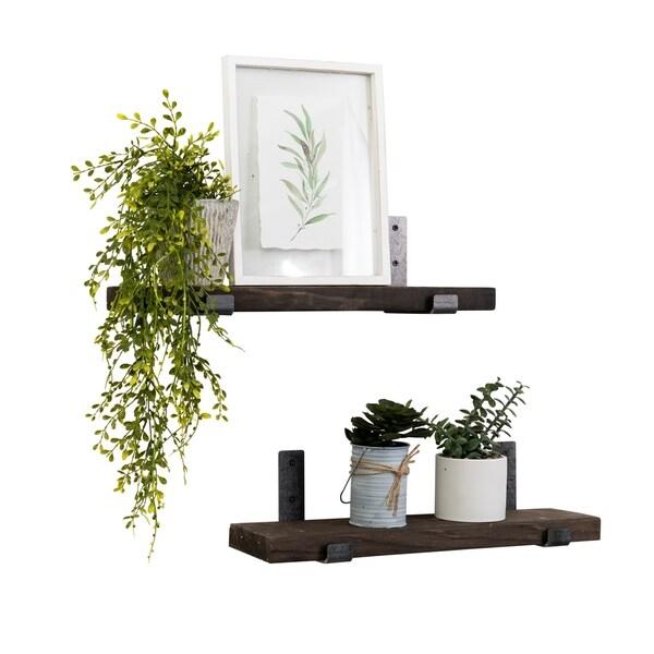 "Handmade 24"" Clutch Bracket Solid Wood Shelf, Set of 2"