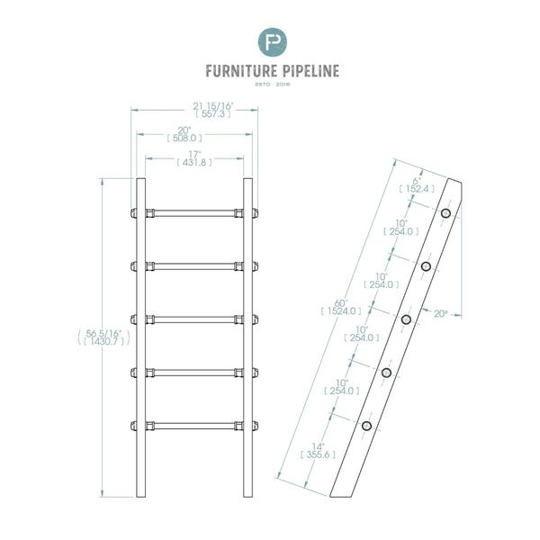 Furniture Pipeline Williston Farmhouse Industrial Decorative Ladder