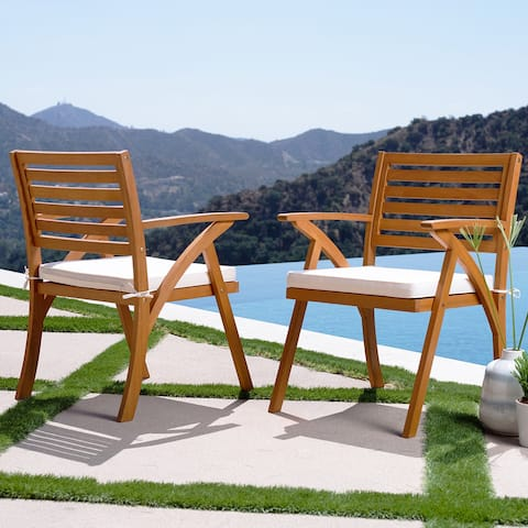 Oarcha Natural Wood Outdoor Cushioned Arm Chairs (Set of 2) by Havenside Home