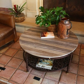 Contemporary Oak Wood and Metal Round Coffee Table