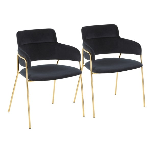 Napoli Contemporary Chair in Velvet & Gold Metal - Set of 2 - N/A. Opens flyout.