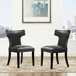 Carbon Loft Bronagh Curved Vinyl Dining Chair (Set of 2)