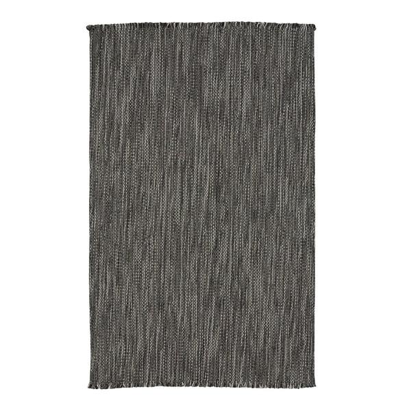 "Coastal Grey Flat-Woven Vertical Stripe Rectangle Rug - 8' x 24"""