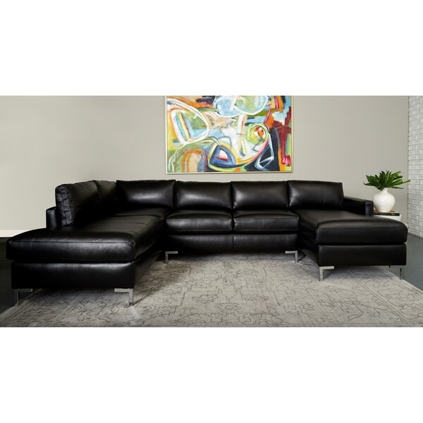 Copper Grove Enschede Left-facing U-shaped Leather Sectional