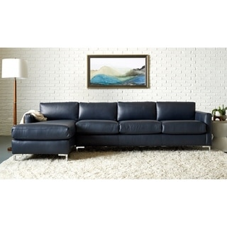 Copper Grove Enschede Left-facing Leather Sofa Chaise Sectional