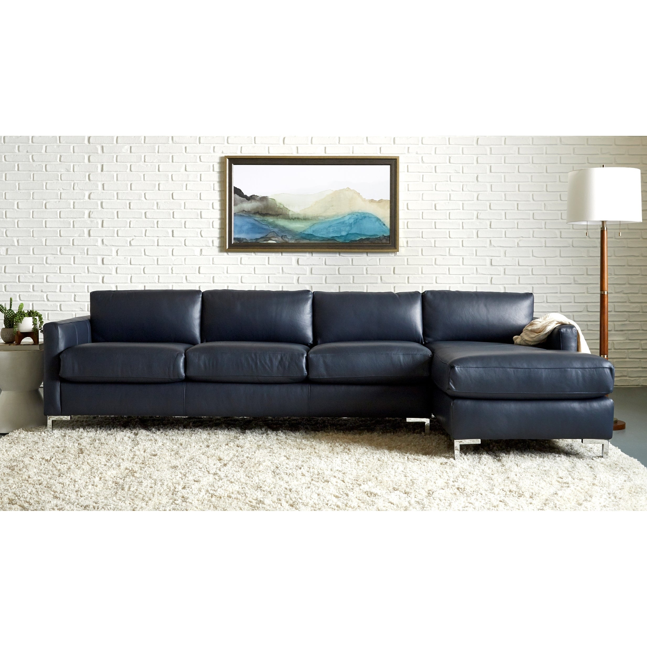 Copper Grove Enschede Right-facing Leather Sofa Chaise Sectional