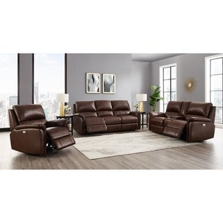 Mia Brown Top Grain Leather Power Reclining Sofa, Loveseat and Chair