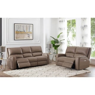 Kai Taupe Top Grain Leather Power Reclining Sofa and Loveseat