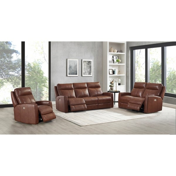 Gio Brown Top Grain Leather Power Reclining Sofa, Loveseat and Chair