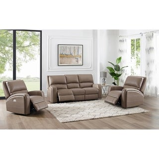 Kai Taupe Top Grain Leather Power Reclining Sofa and Two Chairs