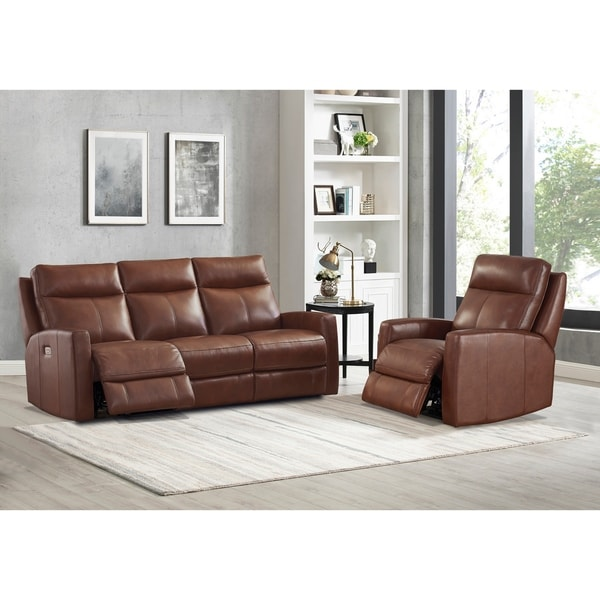 Gio Brown Top Grain Leather Power Reclining Sofa and Chair