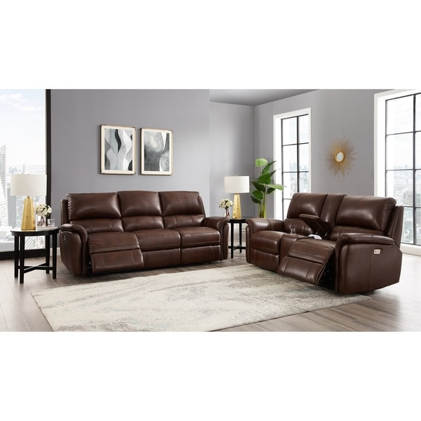 Mia Brown Top Grain Leather Power Reclining Sofa and Loveseat