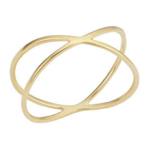 14k Yellow Gold X Criss Cross Ring