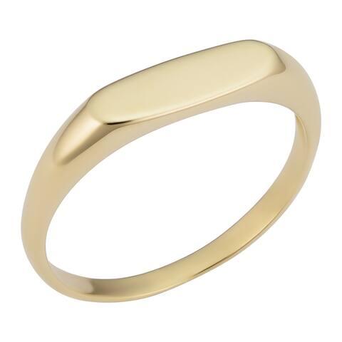 14k Yellow Gold 4.25 millimeter Long Oval Signet Ring for Men and Women