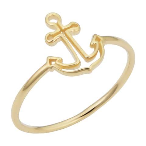 14k Yellow Gold Anchor Ring Minimalist Jewelry