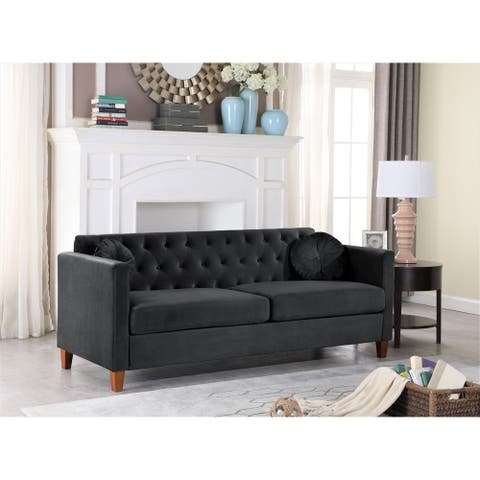 Persaud velvet Kitts Classic Chesterfield Sofa