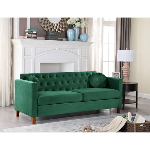 Persaud velvet Kitts Classic Chesterfield Sofa