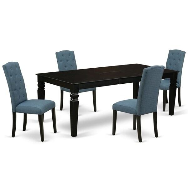 Rectangle Table and Parson Chairs in Blue Linen Fabric (Number of Chairs and bench Option)