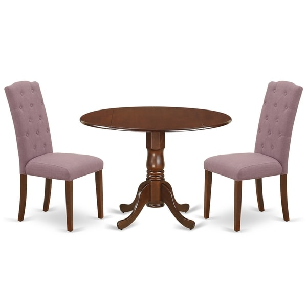 Round Small Table and Parson Chairs in Dahlia Linen Fabric (Number of Chairs Option)