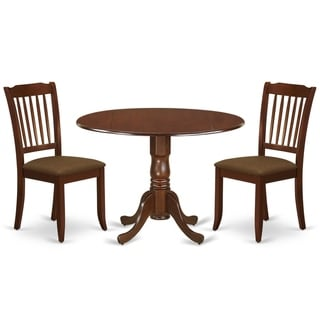 Round Small Table and Parson Chairs in Brown Linen Fabric (Number of Chairs Option)