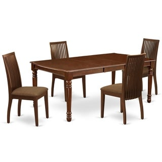 Rectangle Table and Parson Chairs in Brown Linen Fabric (Number of Chairs and bench Option)