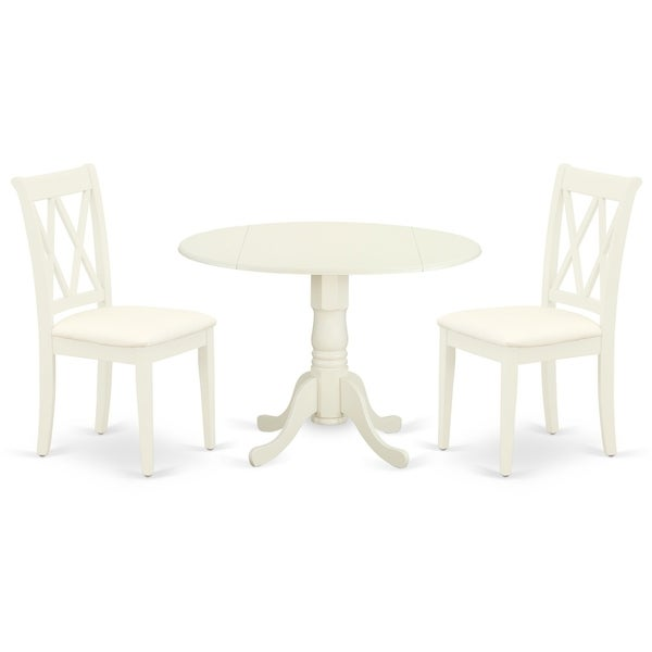 Round Small Table and Parson Chairs in White Linen Fabric (Number of Chairs Option)