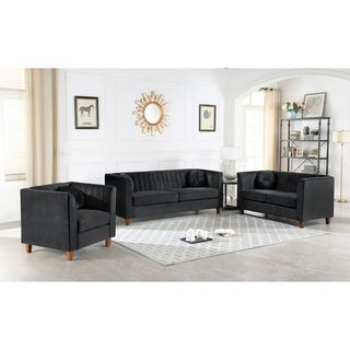 Arvilla velvet Kitts Classic Chesterfield Living room seat-Loveseat and Chair