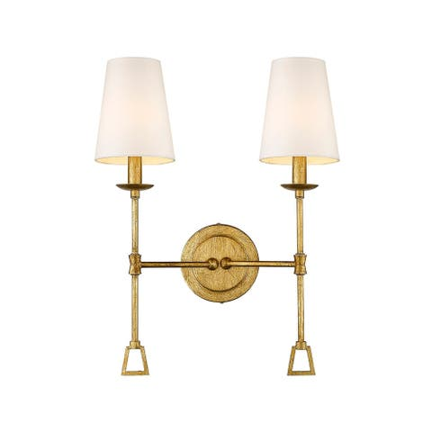 Modern Two 2-Light Wall Sconce with Shade in Antique Gold