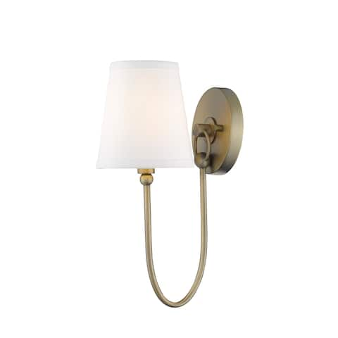 Simple Rustic 1-Light Antique Brass Wall Sconce with Shade