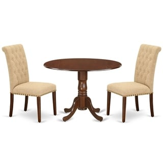 Round Small Table and Parson Chairs in Light Fawn Linen Fabric (Number of Chairs Option)