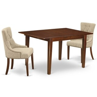 Rectangle Table and Parson Chairs in Doeskin Linen Fabric (Number of Chairs Option)