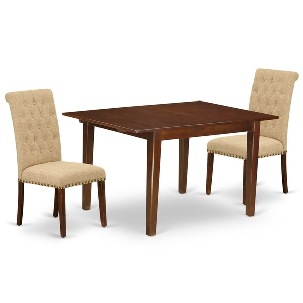 Rectangle Table and Parson Chairs in Light Fawn Linen Fabric (Number of Chairs Option)