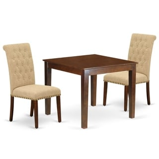 Square Table and Parson Chairs in Light Fawn Linen Fabric (Number of Chairs Option)